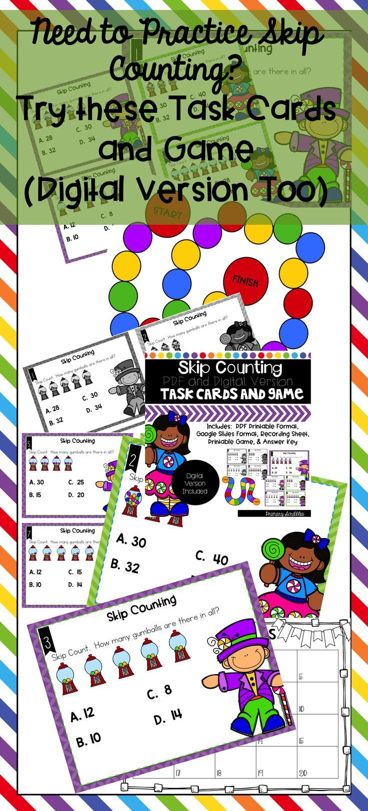 A fun way to practice skip counting.  Can be used during center time or whole group time.  Perfect to make learning fun and engaging.