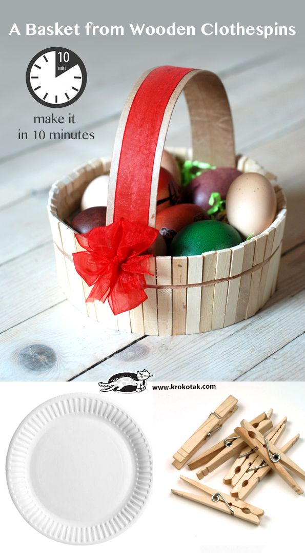 A Basket from Wooden Clothespins – Make it in 10 Minutes