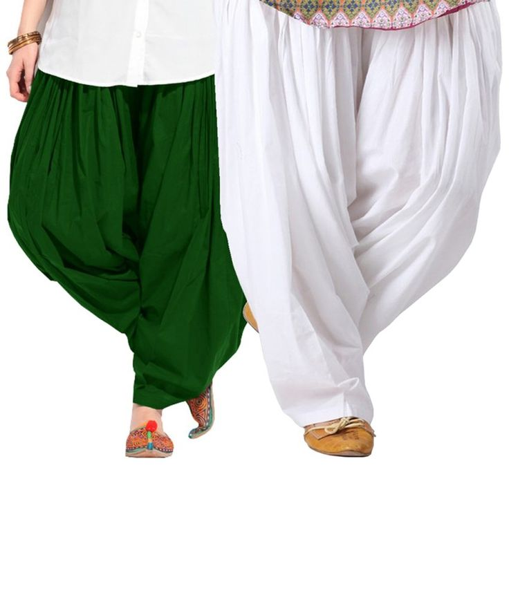 Aashish Fabrics Pack of 2 Green & White Cotton Patiala Salwars - http://weddingcollections.co.in/product/aashish-fabrics-pack-2-green-white-cotton-patiala-salwars/