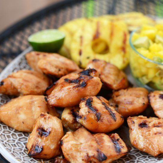 Tropical Teriyaki Grilled Chicken Breast- a summery, delicious dinner to make on the grill!
