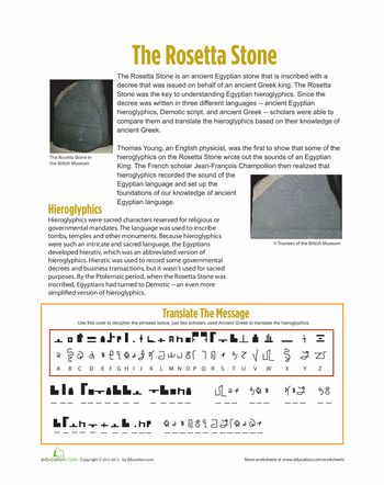 Worksheets: The Rosetta Stone