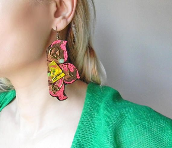 Super long floral brocade fabric earrings in black and pink