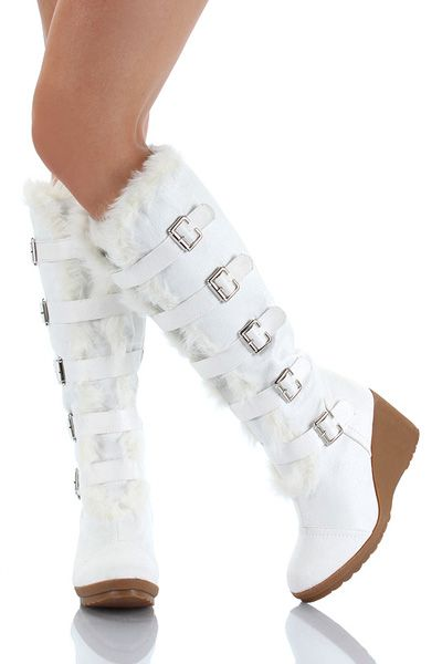 Winter White Boots | WHITE FURRY WEDGE Winter KNEE Boots Women Vegan