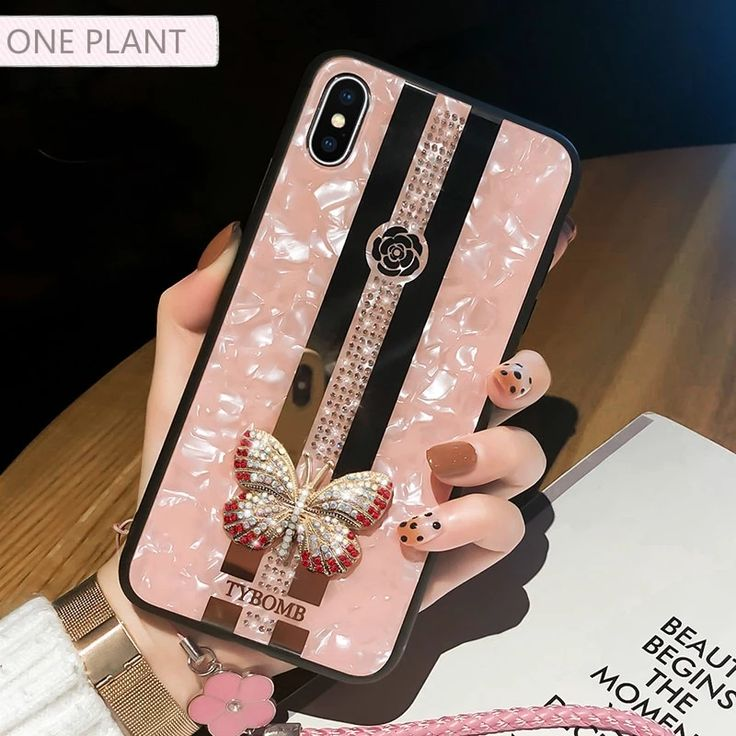 Luxury mirror inlaid butterfly iphone cases for iphone x