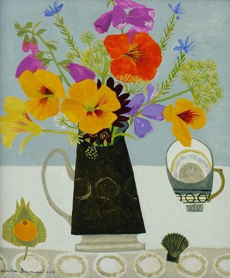 Vanessa Bowman - Nasturtiums & Black Jug #art #artists #florals