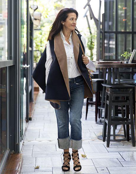 Poncho jacket doublefash onesize blue - brown!!! www.cherryschoice.gr