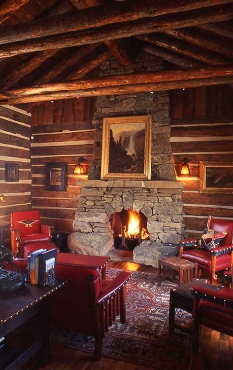 Love the Western themed cabin. These Molesworth chairs are beautiful.