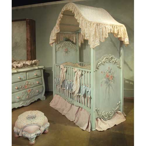 Not sure I have ever seen a more endearing baby bed for a dollhouse family.