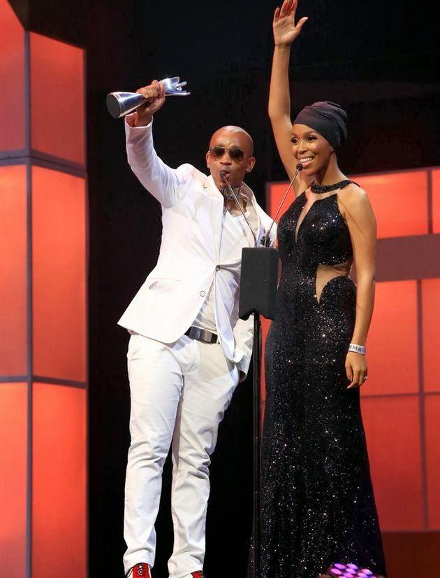 "Winning....Nhlanhla Nciza ""Mafikizolo"" scoops Metro fm awards wearing a Gorgeous CINNEL dress."