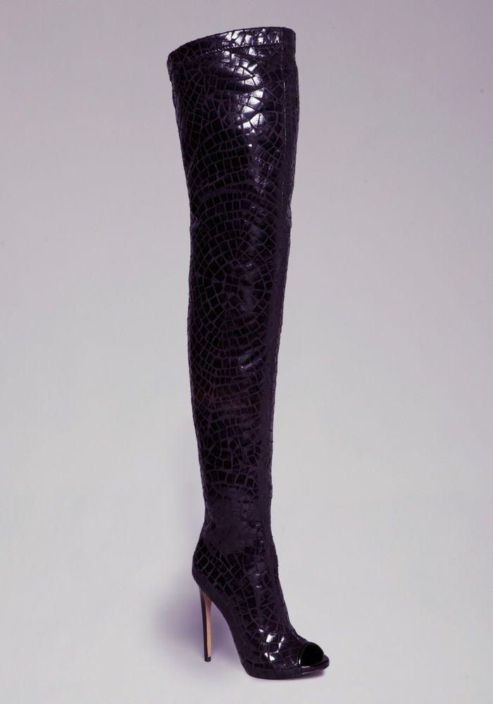 cb5c917159f New bebe  269 black brinley peep toe thigh high boots sz 7
