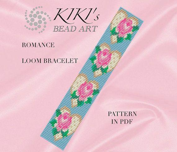 Bead loom pattern Romance LOOM bracelet cuff by KikisBeadArts