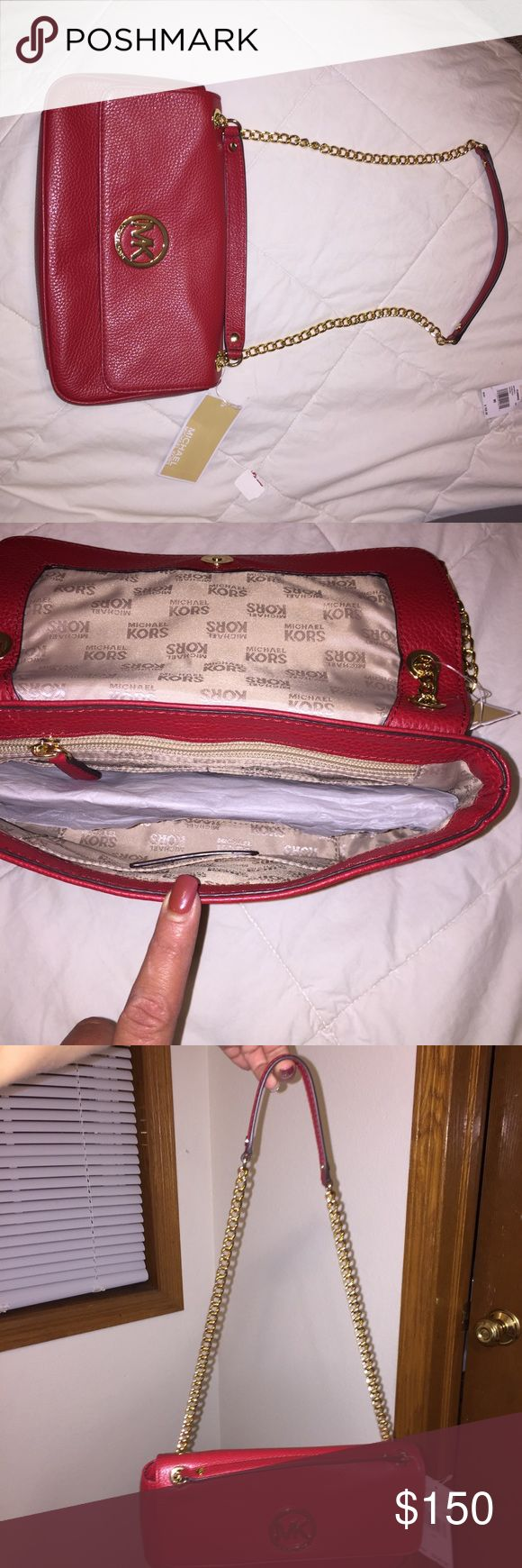 Michael Kors purse Red leather Michael Kors ladies small purse With gold chain Michael Kors Bags Shoulder Bags