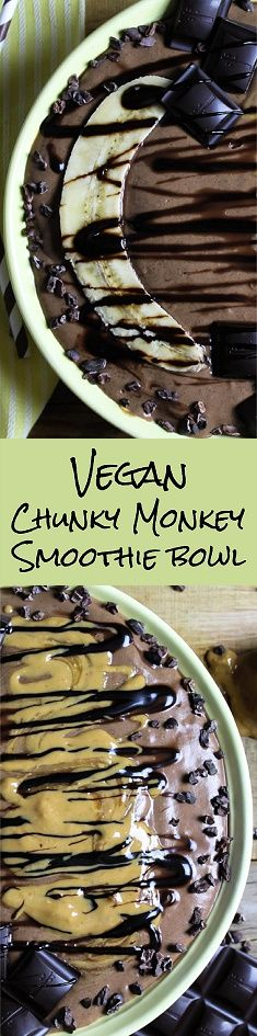 I love feeling like I'm having dessert for breakfast, while feeding my body tons of nutrition. This Chunky Monkey Smoothie bowl might look like it's loaded with sugar and junk, but it's super healthy for you. C'mon over to Vegan Huggs for this delicious recipe. #chunkymonkey #smoothiebowl #veganbreakfast Vegan Chunky Monkey Smoothie Bowl - http://veganhuggs.com/vegan-chunky-monkey-smoothie-bowl-2/