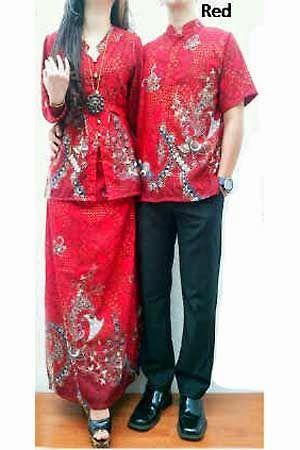 Busana batik Tanah abang terbaru - Set Couple Batik HM0357 Merah / Red
