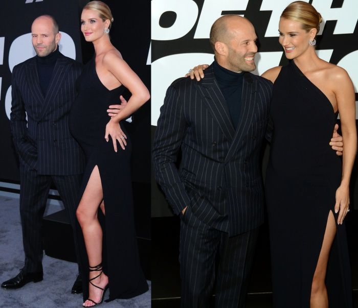 """Rosie Huntington-Whiteley and Jason Statham at """"The Fate of the Furious"""" premiere held at Radio City Music Hall in New York City on April 8, 2017."""