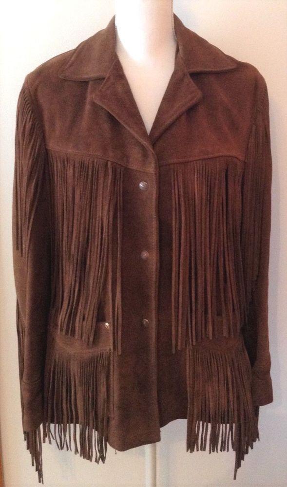 a73fb8f26 Vintage SCHOTT Western Rancher Boho Hippie Rocker Brown Suede Fringe ...