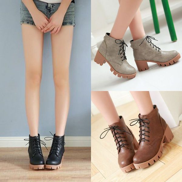 Round Toe Platform Block Chunky Heel Womens Ankle Boots Creepers Shoes 088