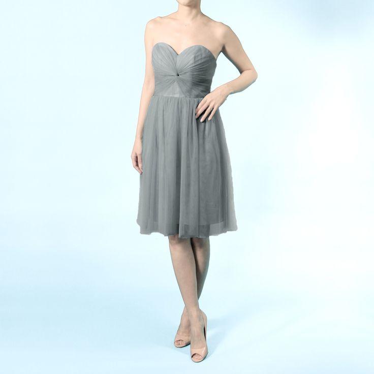 インフィニティショートドレス・ボビネット(シャドーグレー)  ボビネットならではのエアリーなボリューム感が魅力。結び方のアレンジ次第ででスタイルを楽しめるインフィニティショートドレス。 #Bridesmaid #Wedding #Dress #Gray #Vintage