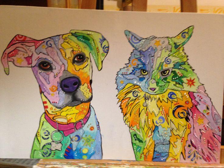 Diana ed Elis #cane #gatto #arte #quadri #popart