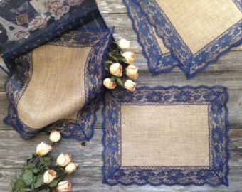 Rustic Placemats - Burlap and NAVY / DARK BLUE Lace, Wedding Placemat, Rustic Country Wedding, Country Home Decor, French Country Cottage