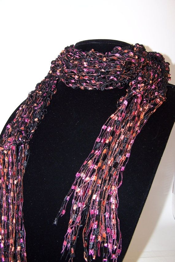 Free Knitting Pattern For Ribbon Scarf : Ladder Ribbon Yarn Free Patterns Ladder Yarn Scarf, Knit ...