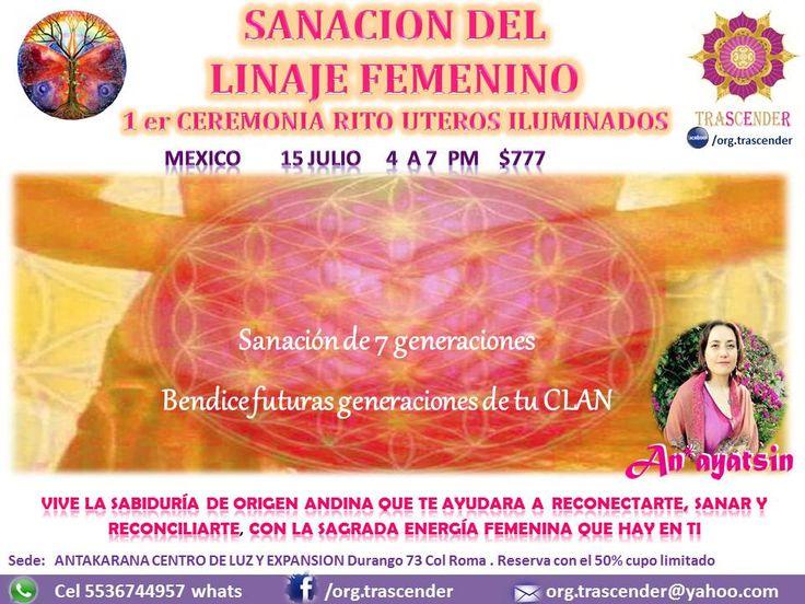 """CDMX 15 JULIO   10am a 1 pm    CEREMONIA:   """"UTEROS ILUMINADOS""""  SANACION GRUPAL ESPECIAL PARA MUJERES  RECIBE CODIGOS DE SANACION ANCESTRALES ANDINOS & TIBETANOS   Cel +52 5536744957 whats                 https://www.facebook.com/linajefemenino #linajefemenino, #uterosiluminados   Apto para mujeres de todas las edades, no requiere preparación alguna. •Algunos temas relevantes del femenino por el cual asistir: •Quistes y miomas (matriz, ovarios) •Desordenes hormonales •Problemas del…"""