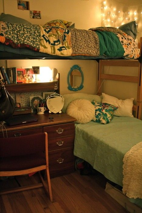 Dorm Room Layout Idea: L-shaped, one lofted bed, one not lofted bed. This saves room without having bunk-beds and gives you and your roomie space.