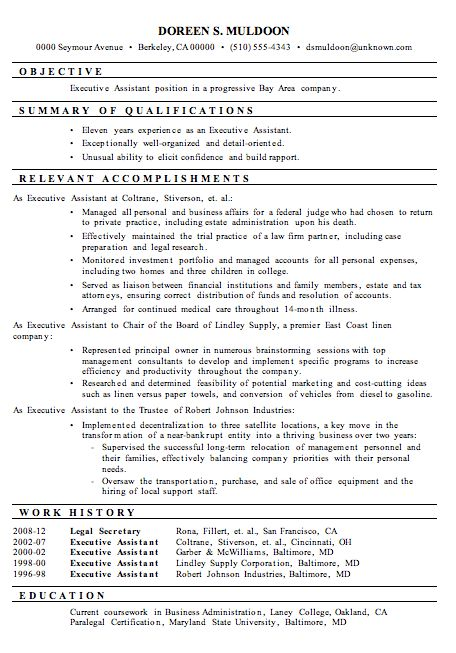 A Resume Sample: Executive Assistant In The Functional Resume Format. Note:  This Sample Is A Hybrid Of The Functional And Chronological Resume Formats.