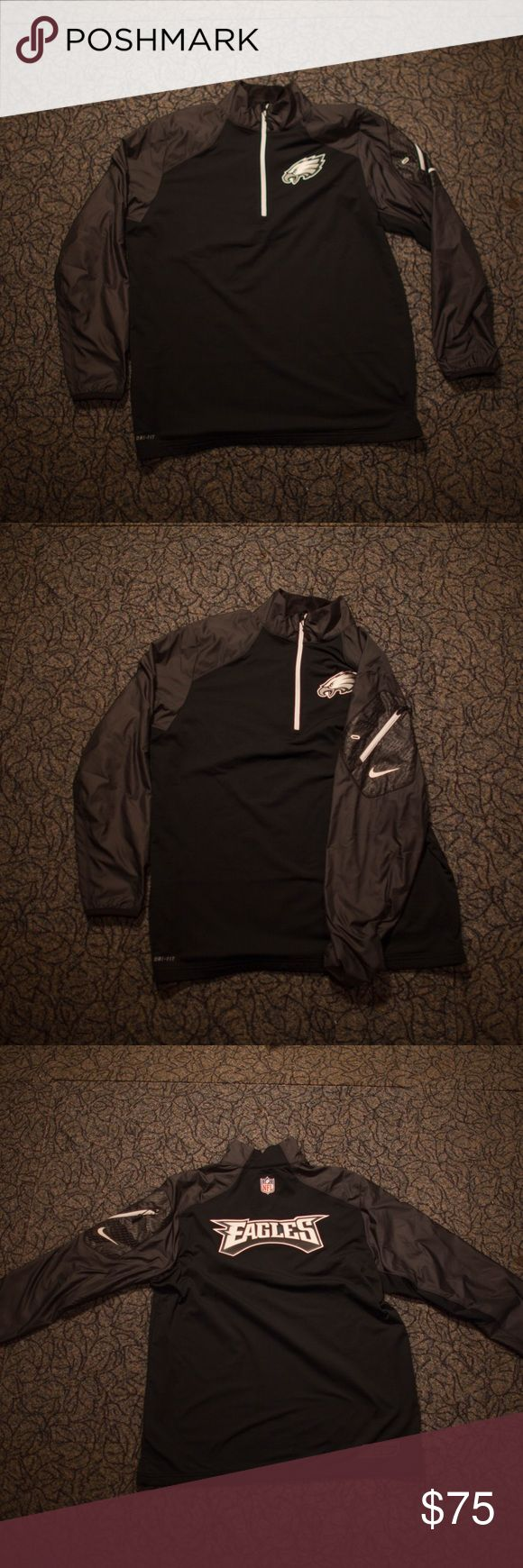 Nike Official Philadelphia Eagles Jacket Official NFL On Field Nike Jacket, size large. Worn once. Water proof and features side zipper pocket. Perfect for the fall! Nike Jackets & Coats Performance Jackets