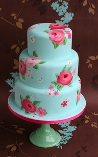 Kimby's Bridal Shower Cake. Floral painted cake - for the bougiest of parties.