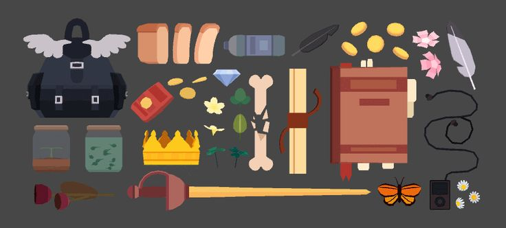 """pixelatedcrown: """"today I wanted to model the inventory I'd have if I were in an rpg! >:) gotta have the essentials - some snacks, money, music, a broken bone, a jar of tadpoles, some feathers… you..."""