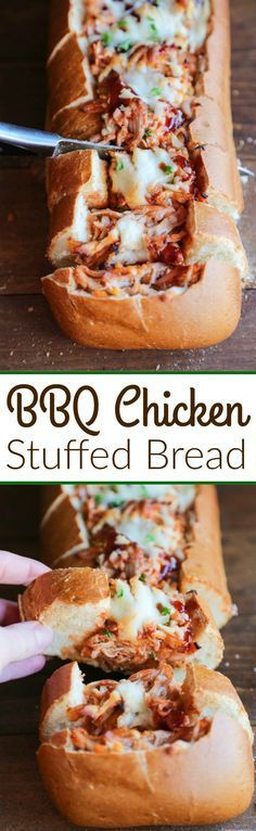 BBQ Chicken Stuffed Bread - Crusty artisan bread filledwith cheesy bbq chicken filling. A fun twist to traditional BBQ chicken pizza--perfect for game day appetizers or an easy dinner idea.