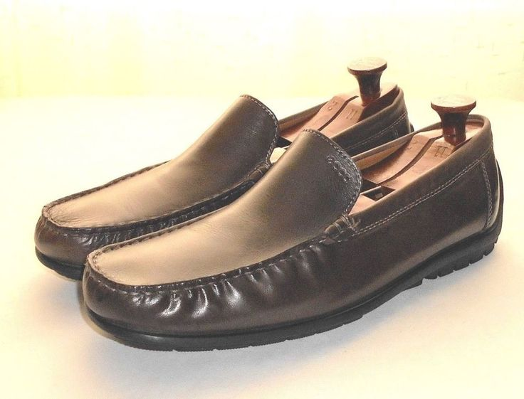 Ecco Men's Brown Leather Driving Moccasin Loafer Shoe Euro 46 US 12-12.5  READ #ECCO #DrivingMoccasinLoaferSlipOn
