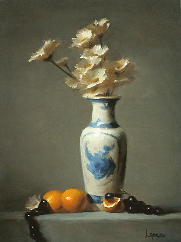 Leah Lopez :: Paintings :: Daisies In Blue and White Vase