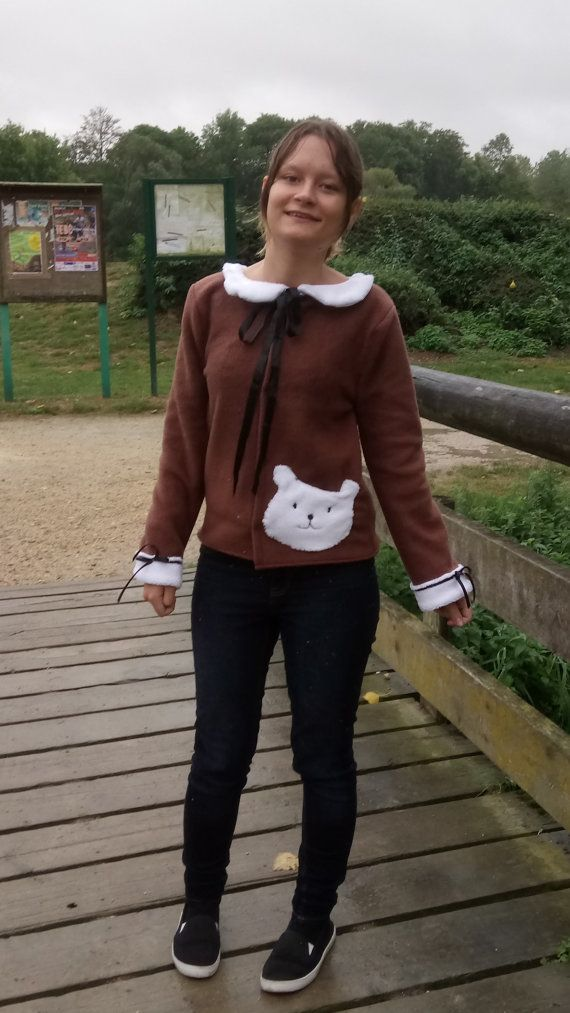 Cute teddy bear fleece jacket by KatelilleProductions on Etsy