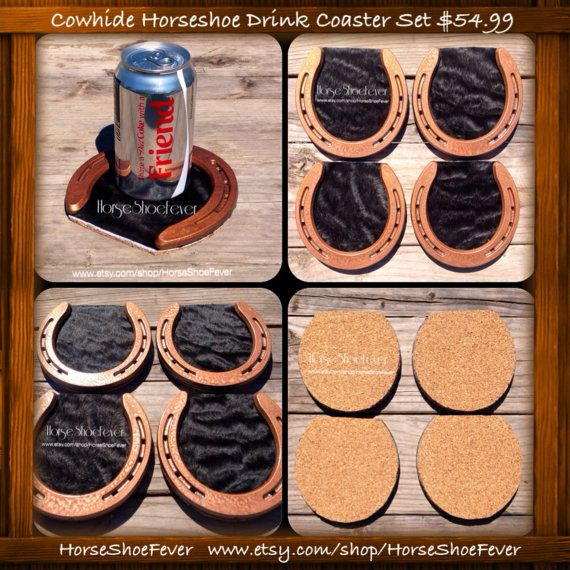$49.99 © Copper & Black Set. 4 Cowhide Horseshoe Coasters. By HorseShoeFever. Western, Country, Ranch, Farm, Decor, Cowboy, Cowgirl, Desk, Library, Horseshoe, Horses, Cattle, Beef, Leather