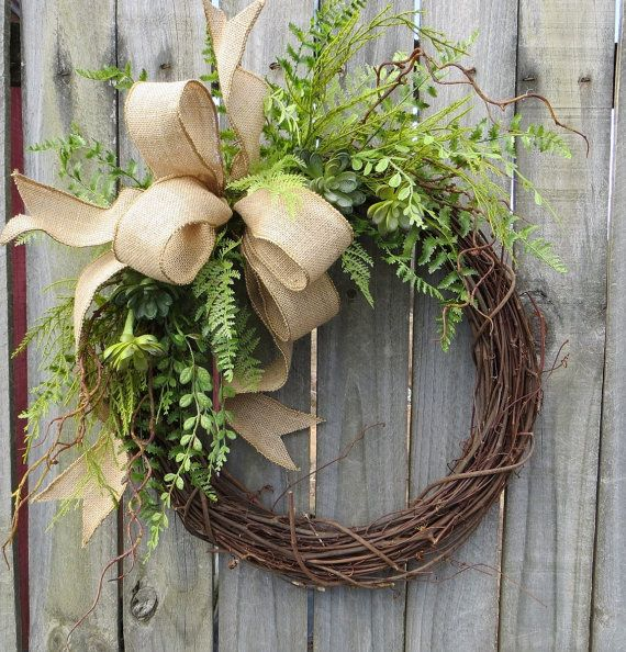 Succulent Wreath - Wreath Great for All Year Round - Everyday Burlap Wreath Door Wreath & 5029 best Wreaths images on Pinterest | Crowns Front door wreaths ...