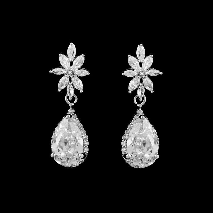 Stunning Sterling Silver CZ Pear Drop Wedding Earrings--Affordable Elegance Bridal -