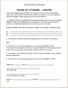 Limited Power of Attorney Form DOWNLOAD at http://www.templateinn.com/power-of-attorney-forms/