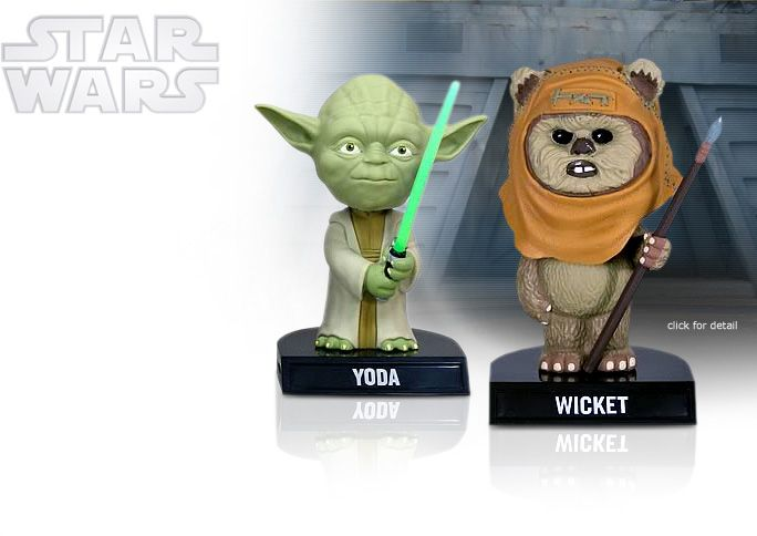 NobleWares offers Officially Licensed collectible reproductions of Star Wars replica movie props and collectibles, including the Star Wars Tiny Master Yoda 8249 and Ewok Wicket 8536 Mini Bobble Heads by Funko