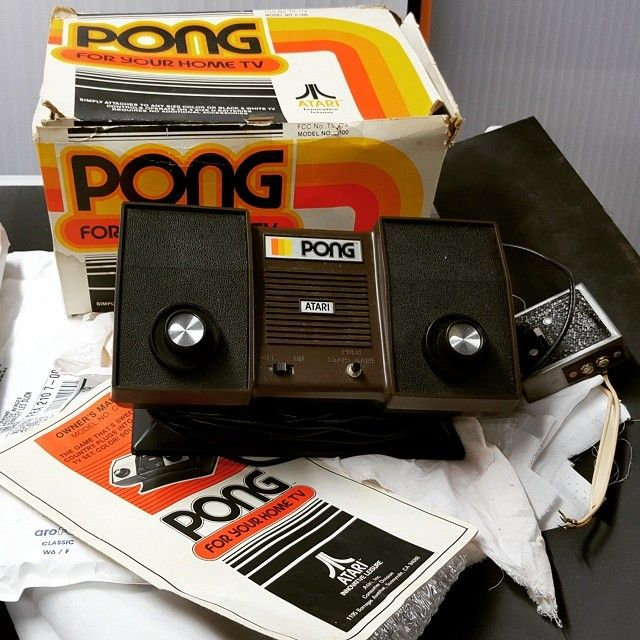 On instagram by arcademaniac #retrogaming #microhobbit (o) http://ift.tt/1m8XXbL a pleasure to share a classic with you friends. We needed the #pong by #atari & we found it #mint in #box #ComeToDaddy  #lowtech #collector #vintage #videogame #arcadeManiac #ArcadeGame