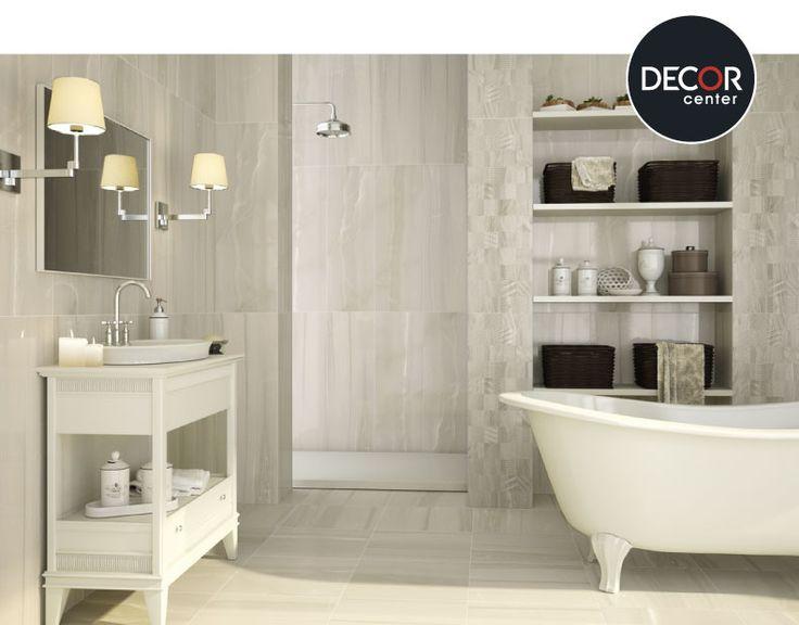 Baño decorado con cerámicos de la marca Baldocer Modelo Marfil.  #homedecor #ambiente #elegante #decoración #hogar