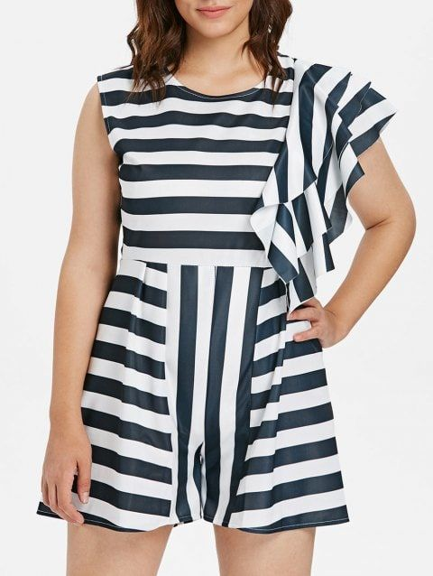 a685adf4790 Sleeveless Plus Size Striped Flounce Detail A Line Romper - WHITE 2X ...