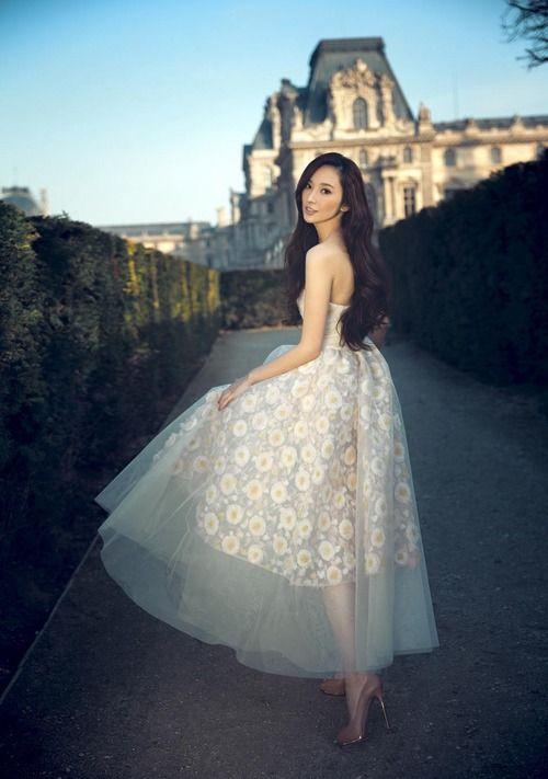 Pace Wu poses in Paris waring Giambattista Valli Haute Couture Spring/Summer 2013