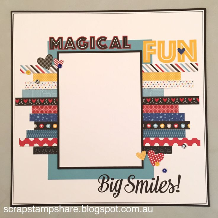 This page layout was inspired by a design by Jennifer Smith. Created by Denise Tarlinton, this version of the page features 1/2 inch strips of Magical B&T paper and Zip Strips to create a colourful title page. A great way to use up paper scraps and Zip Strips