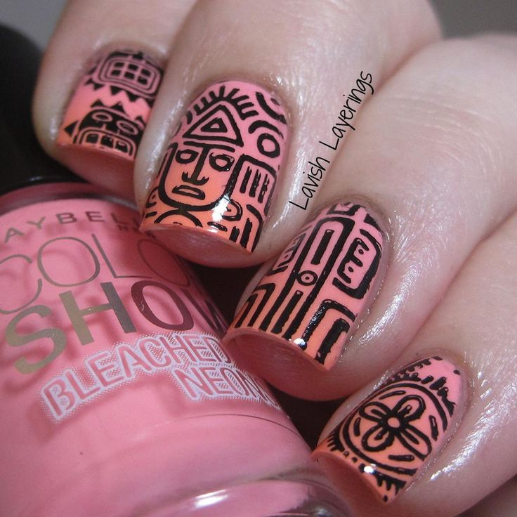 Tribal Stamping with Born Pretty Store Stamping Plate