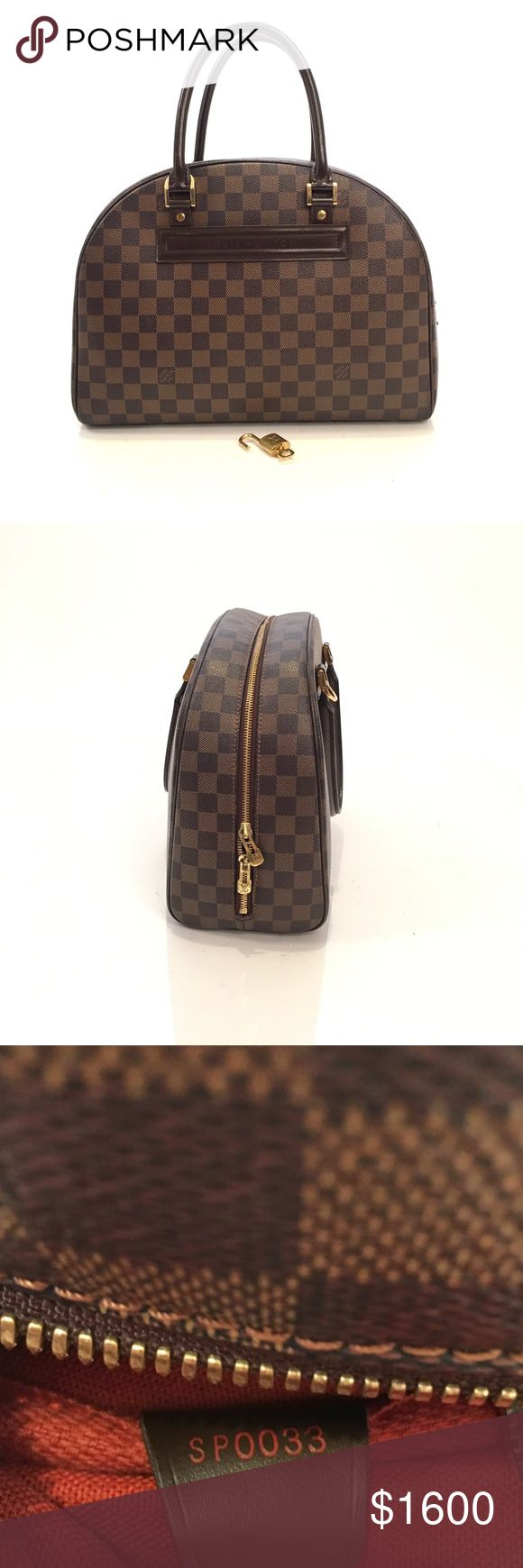 Louis Vuitton Damier Ebene Nolita 100% authentic. Made in France. Date code: SP 0033. Monogram canvas is in great condition. Zipper glides smoothly. Perfect for travel or everyday use. It has a lot of space. It comes with original Lock and key. Interior has some ink marks but to tears.  It has a little minor mark on the bottom (please check all the photos ) Overall, it has normal signs of use but it's still in very condition. 🚫No trade please. Louis Vuitton Bags Satchels