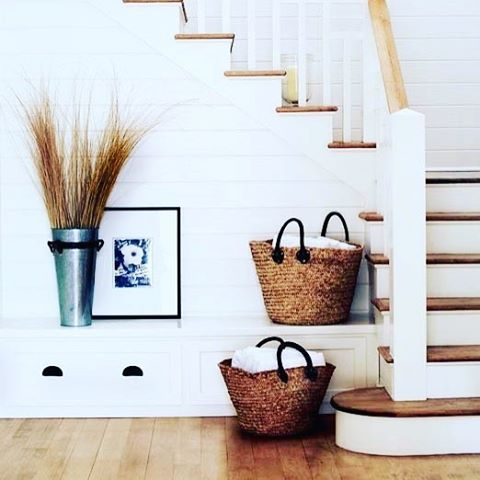 { T E X T U R E }  I must admit here at FD we do love a good staircase and this gorgeous example pictured in @betterhomesandgardens is right up our alley!  Can't go past white shiplap panelling with natural timber floors, stair treads and rails  and the hurricanes placed on the stairs really do make a welcoming statement ...Just gorgeous xx