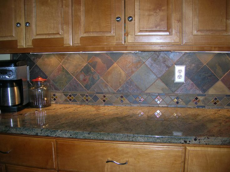 Interior Dark Colored Slate Tile With Wooden Furniture Application For Kitchen Slate Tile