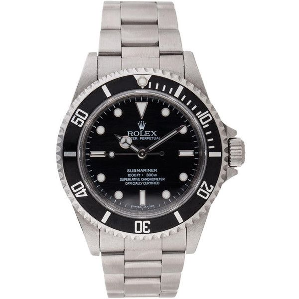 Pre-owned Rolex Submariner Watch (€4.695) ❤ liked on Polyvore featuring jewelry, watches, black dial watches, pre owned watches, stainless steel jewellery, stainless steel wrist watch and rolex